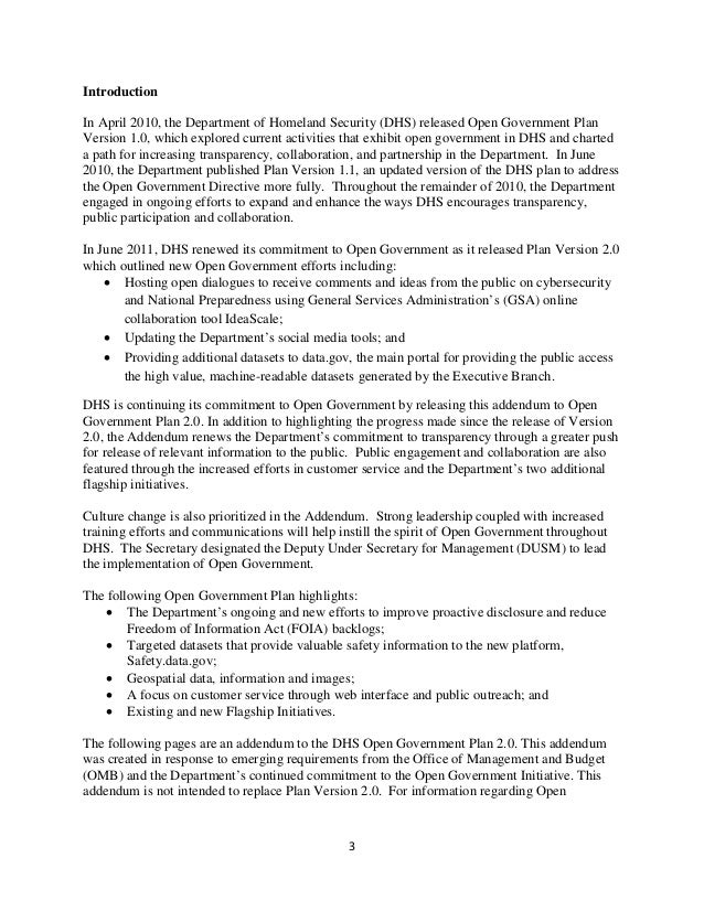 Dhs Open Gov Plan 2 Addendum Ousm