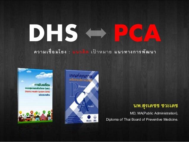 DHS PCAความเชื่อมโยง : แนวคิด เป้ าหมาย แนวทางการพัฒนา นพ.สุรเดชช ชวะเดช MD, MA(Public Administration), Diploma of Thai Bo...