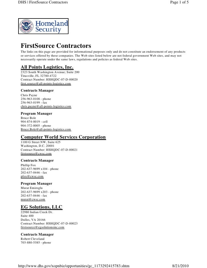 DHS   FirstSource Contractors                                                                                Page 1 of 5  ...