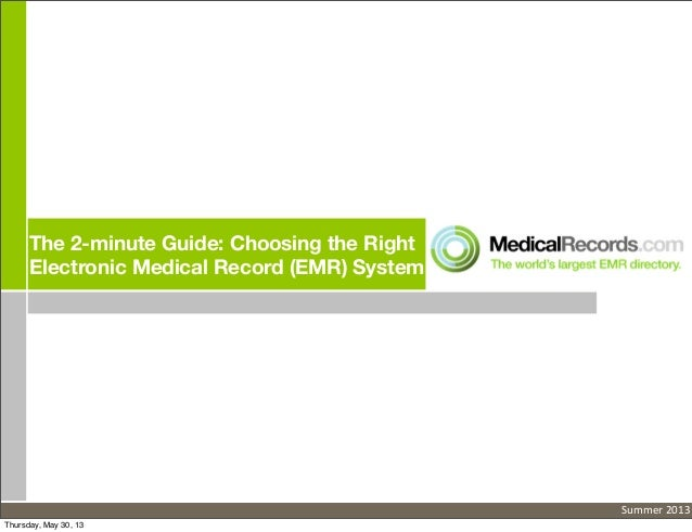 The 2-minute Guide: Choosing the RightElectronic Medical Record (EMR) SystemSummer 2013Thursday, May 30, 13
