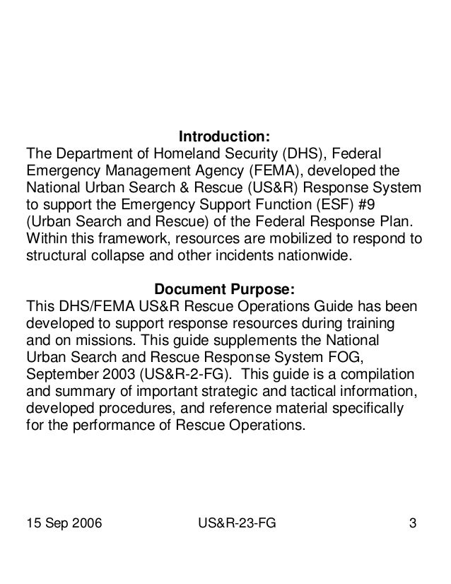 DHS national urban search and rescue ops