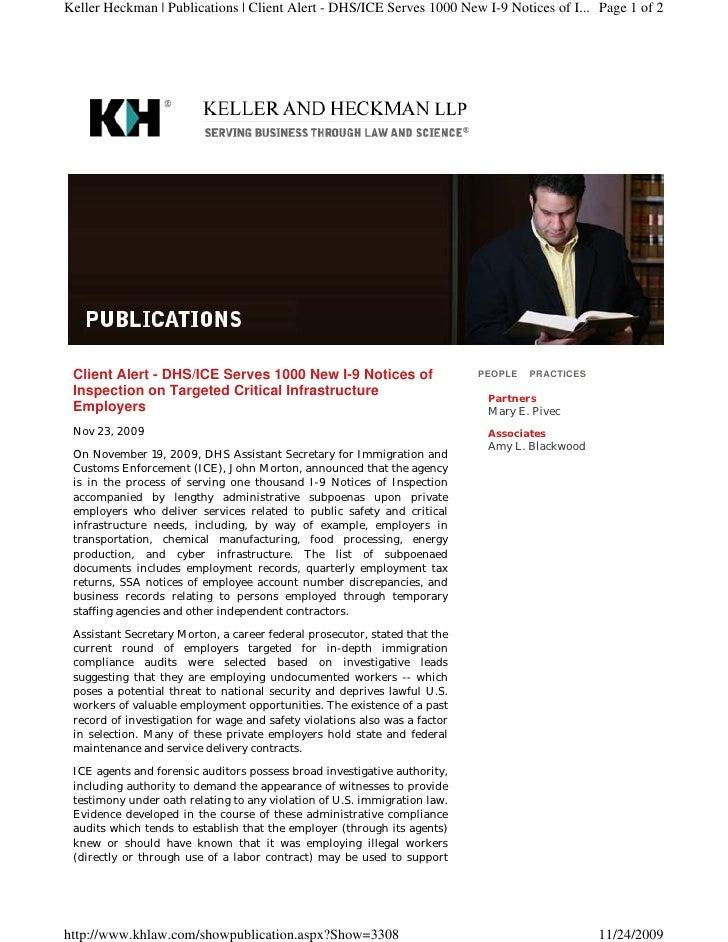 Keller Heckman | Publications | Client Alert - DHS/ICE Serves 1000 New I-9 Notices of I... Page 1 of 2      Client Alert -...