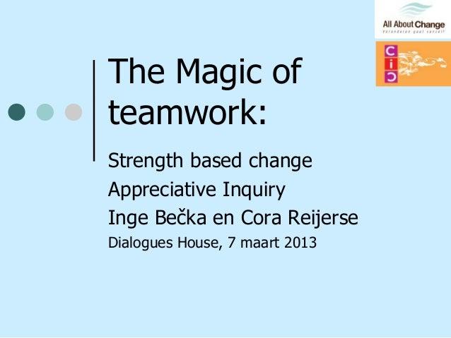 The Magic ofteamwork:Strength based changeAppreciative InquiryInge Bečka en Cora ReijerseDialogues House, 7 maart 2013