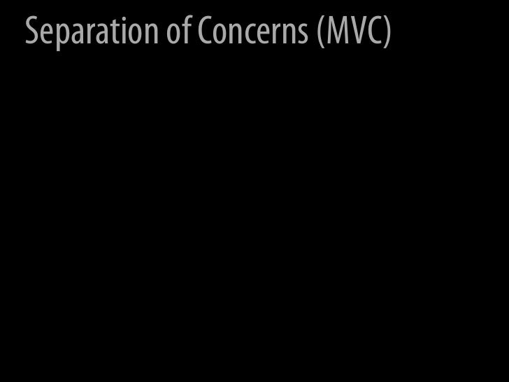 Separation of Concerns (MVC)                 View