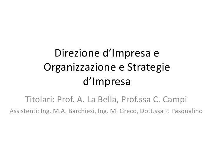 Direzione d'Impresa e            Organizzazione e Strategie                    d'Impresa     Titolari: Prof. A. La Bella, ...