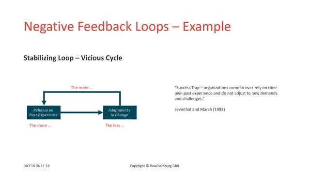 "Negative Feedback Loops – Example Stabilizing Loop – Vicious Cycle LKCE18 06.11.18 Copyright © flow.hamburg GbR ""Success T..."