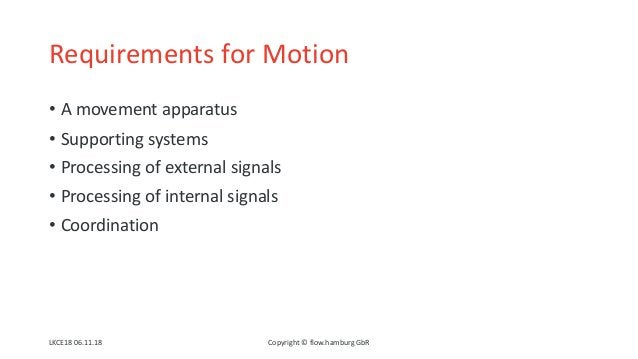 Requirements for Motion • A movement apparatus • Supporting systems • Processing of external signals • Processing of inter...