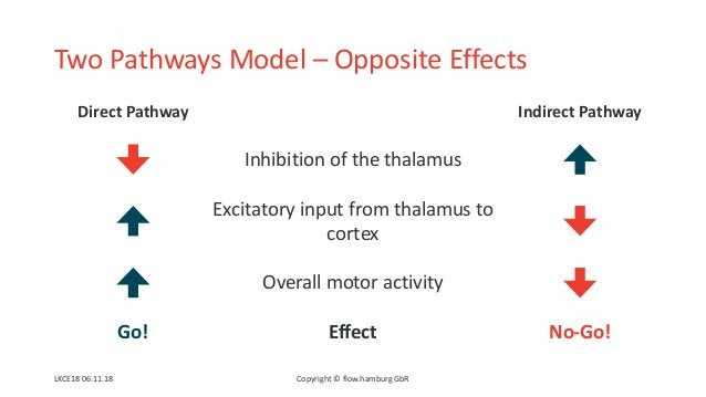 Two Pathways Model – Opposite Effects Direct Pathway Indirect Pathway Inhibition of the thalamus Excitatory input from tha...