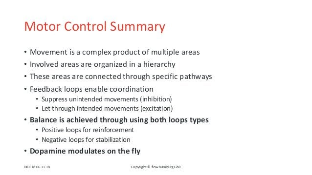 Motor Control Summary • Movement is a complex product of multiple areas • Involved areas are organized in a hierarchy • Th...