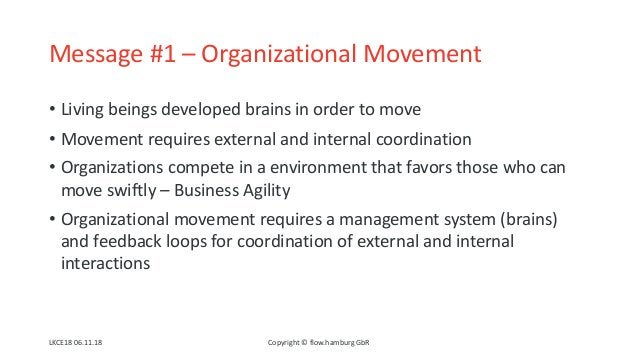 Message #1 – Organizational Movement • Living beings developed brains in order to move • Movement requires external and in...