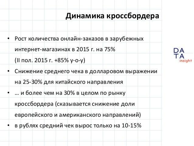 D insight AT A • Рост количества онлайн-заказов в зарубежных интернет-магазинах в 2015 г. на 75% (II пол. 2015 г. +85% y-o...