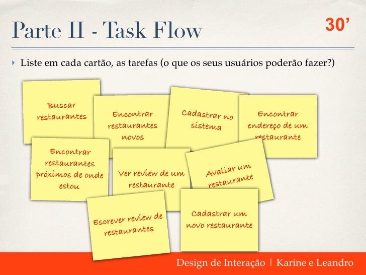 Parte II - Task Flow                                                          30'‣ Liste em cada cartão, as tarefas (o que...