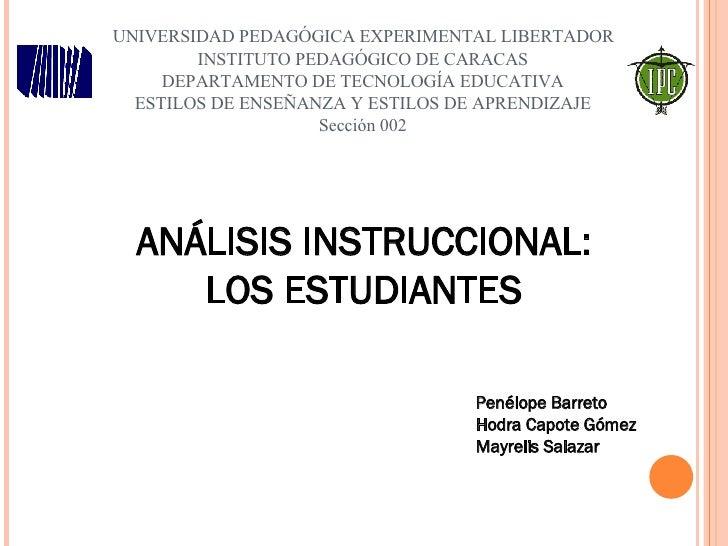 UNIVERSIDAD PEDAGÓGICA EXPERIMENTAL LIBERTADOR         INSTITUTO PEDAGÓGICO DE CARACAS     DEPARTAMENTO DE TECNOLOGÍA EDUC...