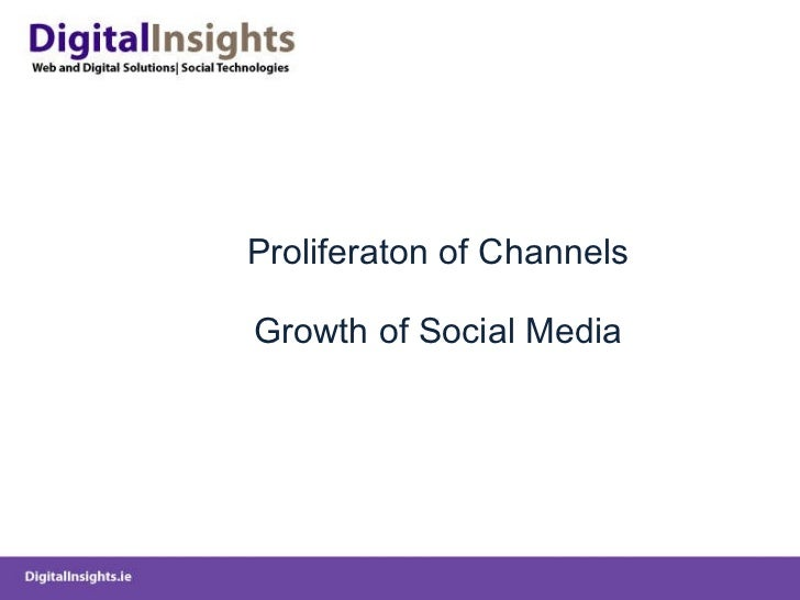 Proliferaton of Channels Growth of Social Media