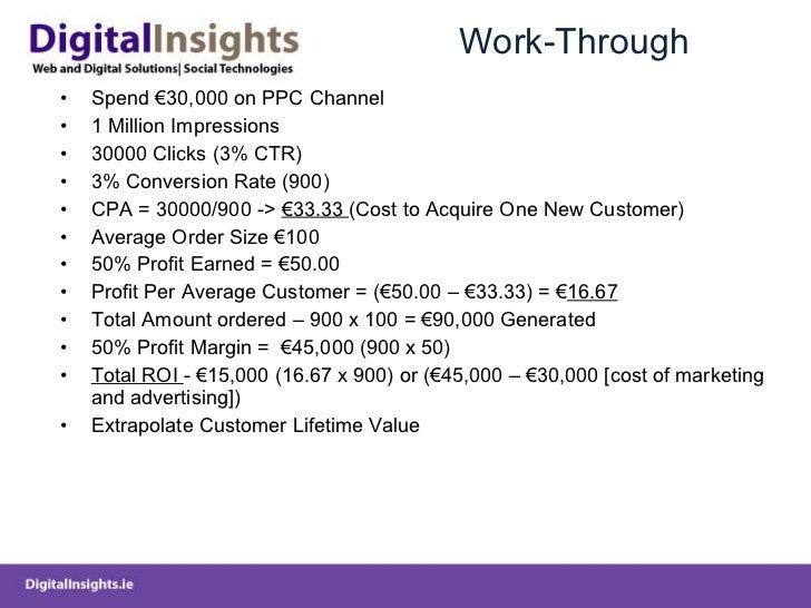 Work-Through <ul><li>Spend €30,000 on PPC Channel </li></ul><ul><li>1 Million Impressions  </li></ul><ul><li>30000 Clicks ...