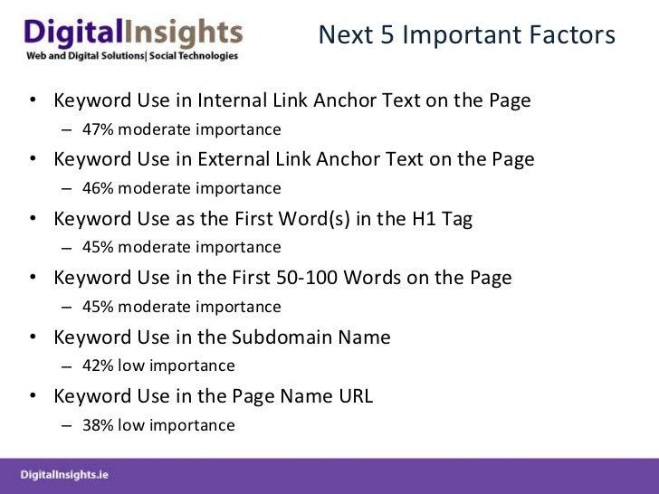 Next 5 Important Factors <ul><li>Keyword Use in Internal Link Anchor Text on the Page </li></ul><ul><ul><li>47% moderate i...