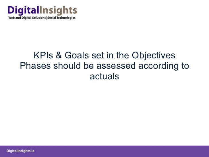 KPIs & Goals set in the Objectives Phases should be assessed according to actuals