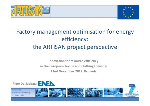 Factory management optimisation for energy                    efficiency:          the ARTISAN project perspective        ...