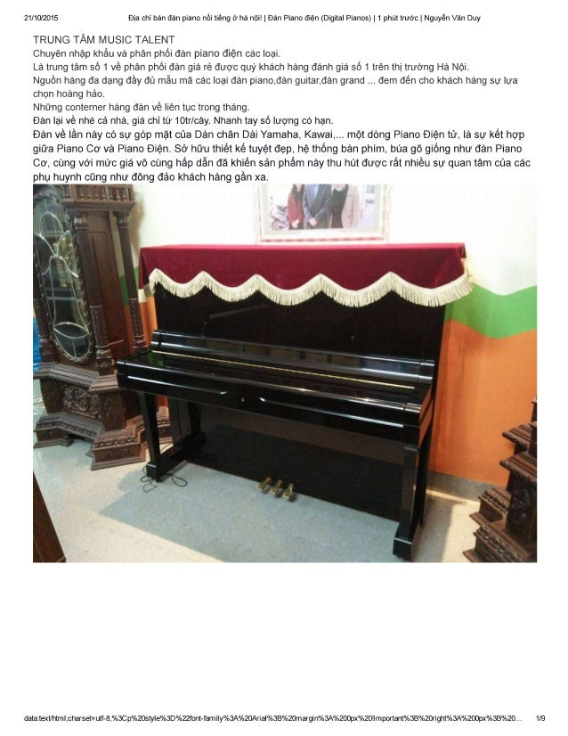 21/10/2015 Elia chi ban dan piano noi tiéng (7 ha not!  |E)an Piano dién (Digital Pianos) |  1 phflt trw0c|  Nguyén Van Duy...