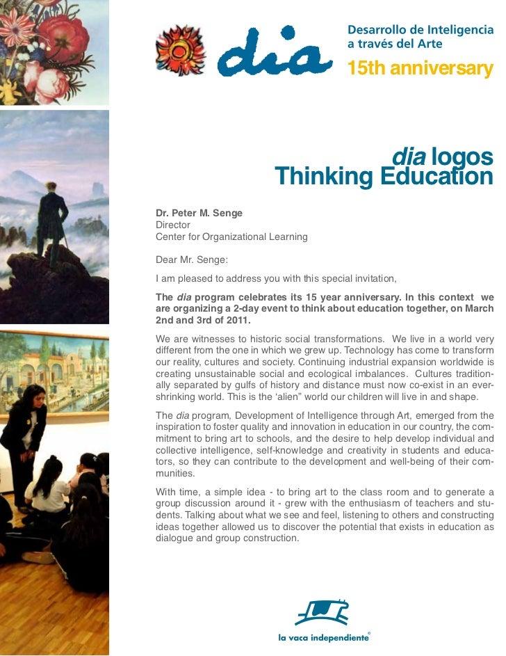 15th anniversary                                      dia logos                            Thinking EducationDr. Peter M. ...