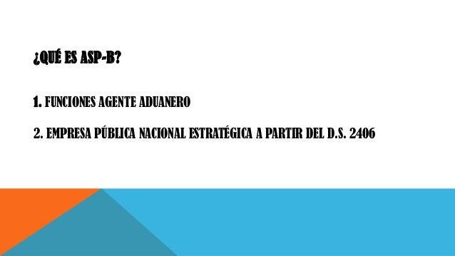 ¿QUÉ ES ASP-B? 1. FUNCIONES AGENTE ADUANERO 2. EMPRESA PÚBLICA NACIONAL ESTRATÉGICA A PARTIR DEL D.S. 2406