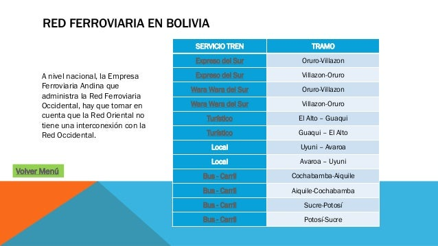RED FERROVIARIA EN BOLIVIA A nivel nacional, la Empresa Ferroviaria Andina que administra la Red Ferroviaria Occidental, h...