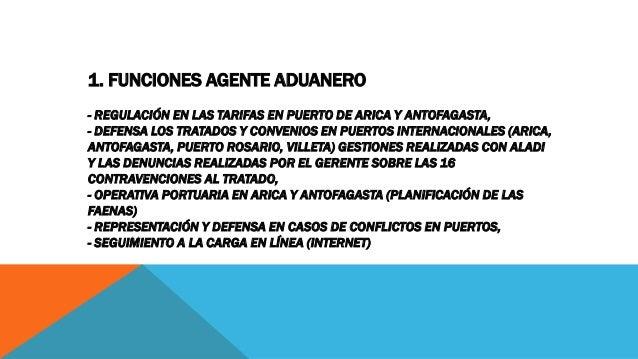 1. FUNCIONES AGENTE ADUANERO - REGULACIÓN EN LAS TARIFAS EN PUERTO DE ARICA Y ANTOFAGASTA, - DEFENSA LOS TRATADOS Y CONVEN...