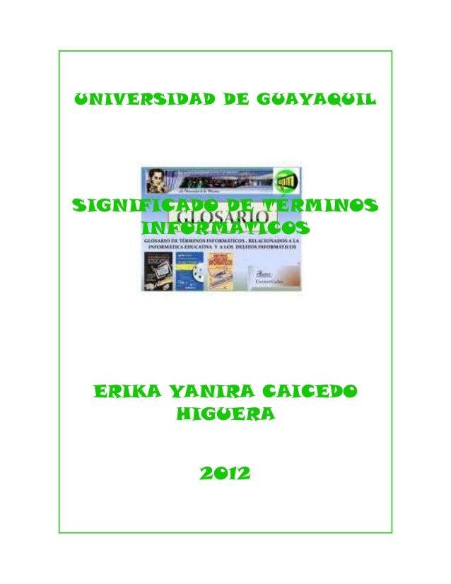 UNIVERSIDAD DE GUAYAQUILSIGNIFICADO DE TÉRMINOS     INFORMÁTICOS ERIKA YANIRA CAICEDO       HIGUERA         2012