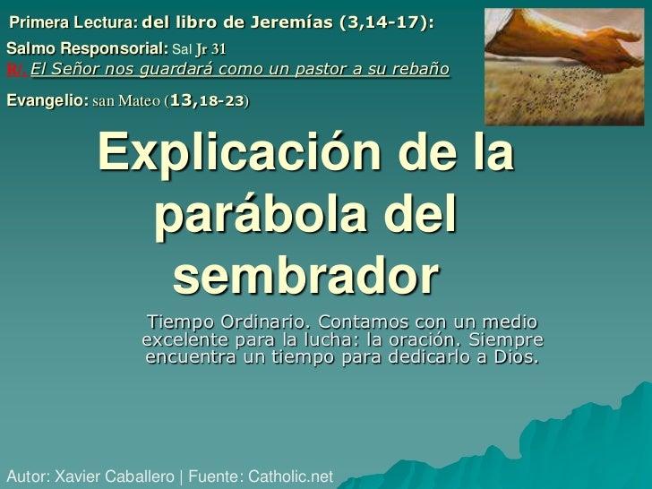Primera Lectura: del libro de Jeremías (3,14-17):Salmo Responsorial: Sal Jr 31R/. El Señor nos guardará como un pastor a s...
