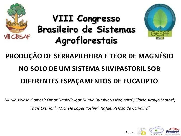 VIII Congresso                 Brasileiro de Sistemas                     AgroflorestaisPRODUÇÃO DE SERRAPILHEIRA E TEOR D...