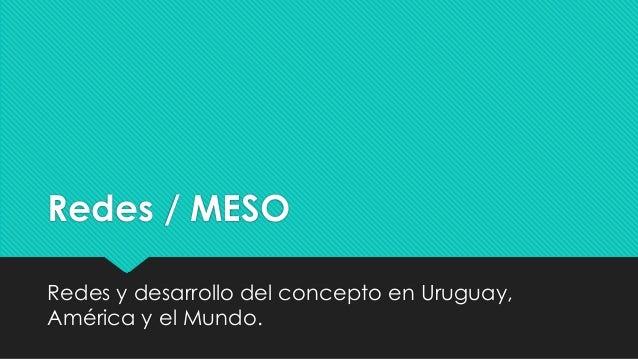 Redes / MESO Redes y desarrollo del concepto en Uruguay, América y el Mundo.