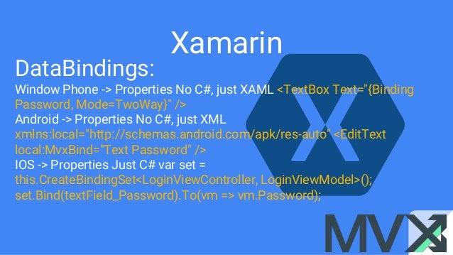 "Xamarin DataBindings: Window Phone -> Properties No C#, just XAML <TextBox Text=""{Binding Password, Mode=TwoWay}"" /> Andro..."