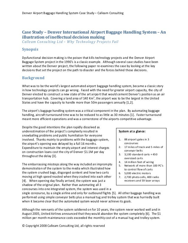 denver airport baggage handling system case study - calleam consulting
