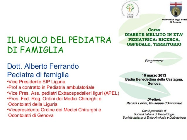 IL RUOLO DEL PEDIATRADI FAMIGLIADott. Alberto FerrandoPediatra di famiglia•Vice Presidente SIP Liguria•Prof a contratto in...
