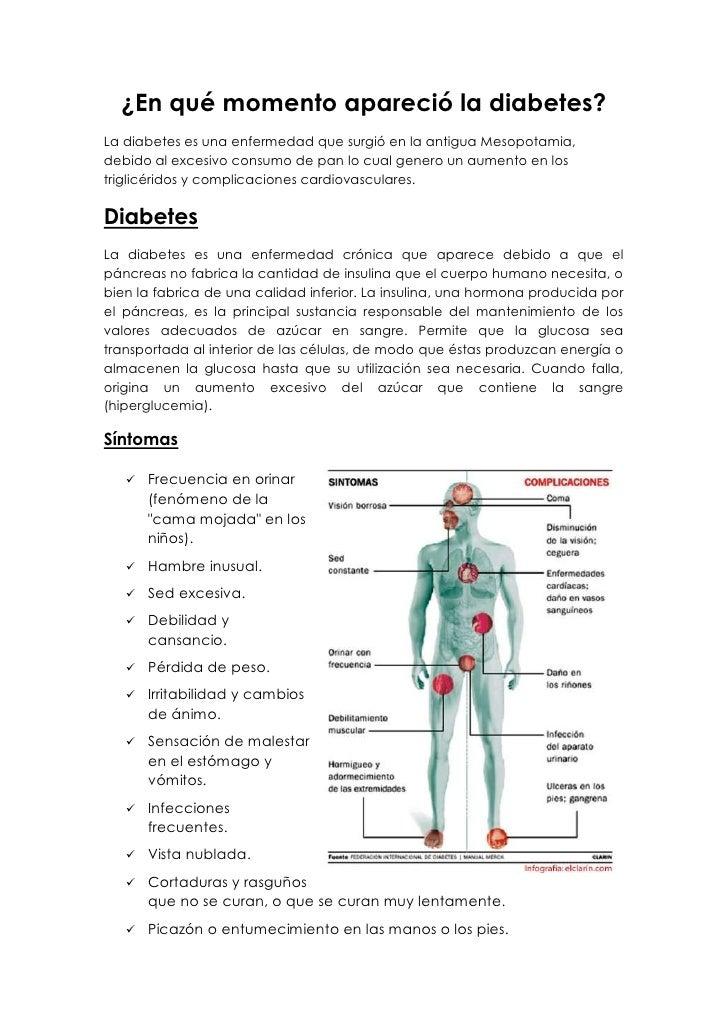 ¿En qué momento apareció la diabetes?La diabetes es una enfermedad que surgió en la antigua Mesopotamia,debido al excesivo...