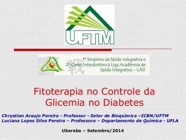 Fitoterapia no Controle da Glicemia no Diabetes Chrystian Araujo Pereira - Professor - Setor de Bioquímica –ICBN/UFTM Luci...