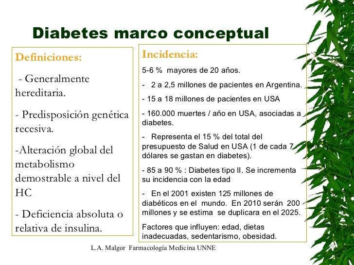 Diabetes marco conceptual  L.A. Malgor  Farmacología Medicina UNNE Definiciones:  -   Generalmente hereditaria. - Predispo...