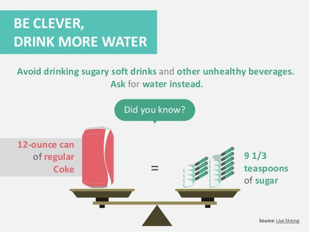 = Did you know? BE CLEVER, DRINK MORE WATER Avoid drinking sugary soft drinks and other unhealthy beverages. Ask for water...
