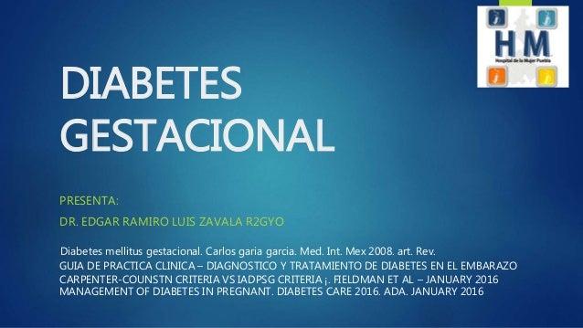 DIABETES GESTACIONAL 2016