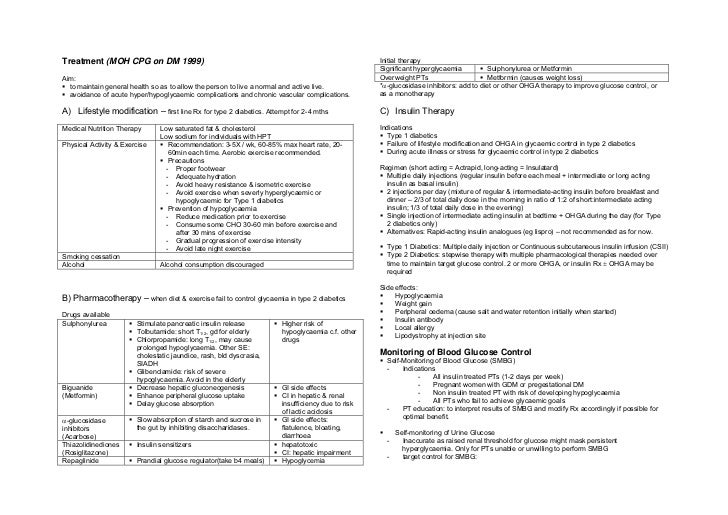 Treatment (MOH CPG on DM 1999)                                                                   Initial therapy          ...