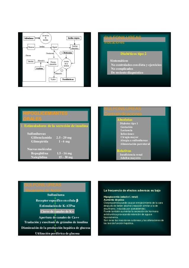 HIPOGLICEMIANTES ORALES 1. Estimuladores de la secreción de insulina Sulfonilureas Glibenclamida 2.5 - 20 mg Glimepirida 1...