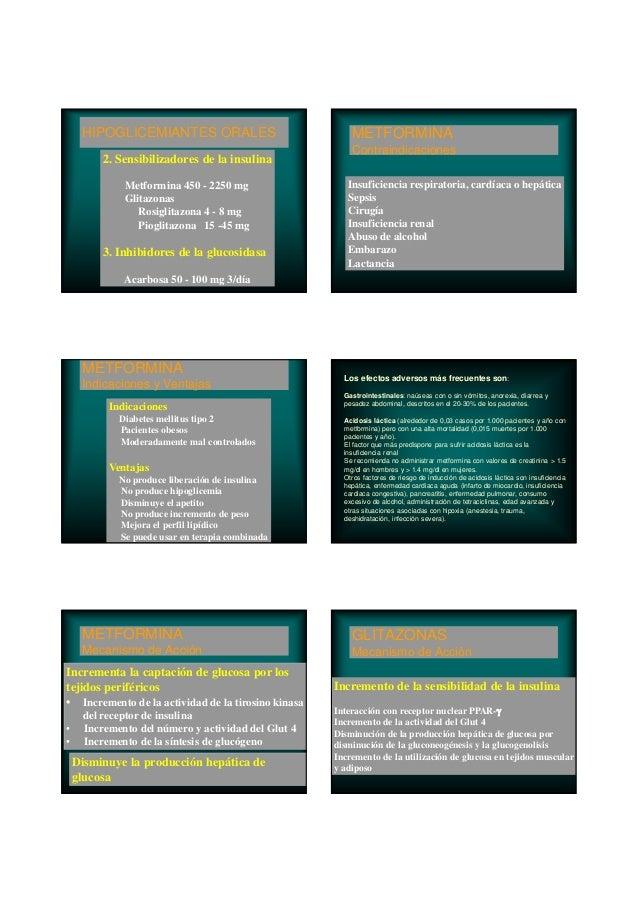 HIPOGLICEMIANTES ORALES 2. Sensibilizadores de la insulina Metformina 450 - 2250 mg Glitazonas Rosiglitazona 4 - 8 mg Piog...