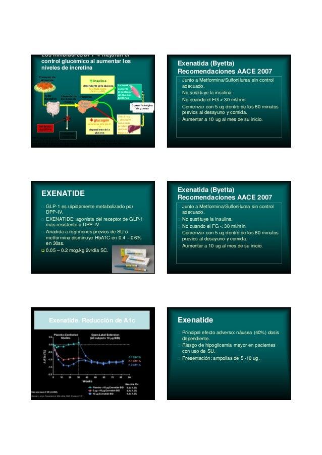 Enzima DPP-4 Insulina dependiente de la glucosa de células beta (GLP-1 y GIP) DPP-4= dipeptidilpeptidasa 4 Adaptado de Bru...