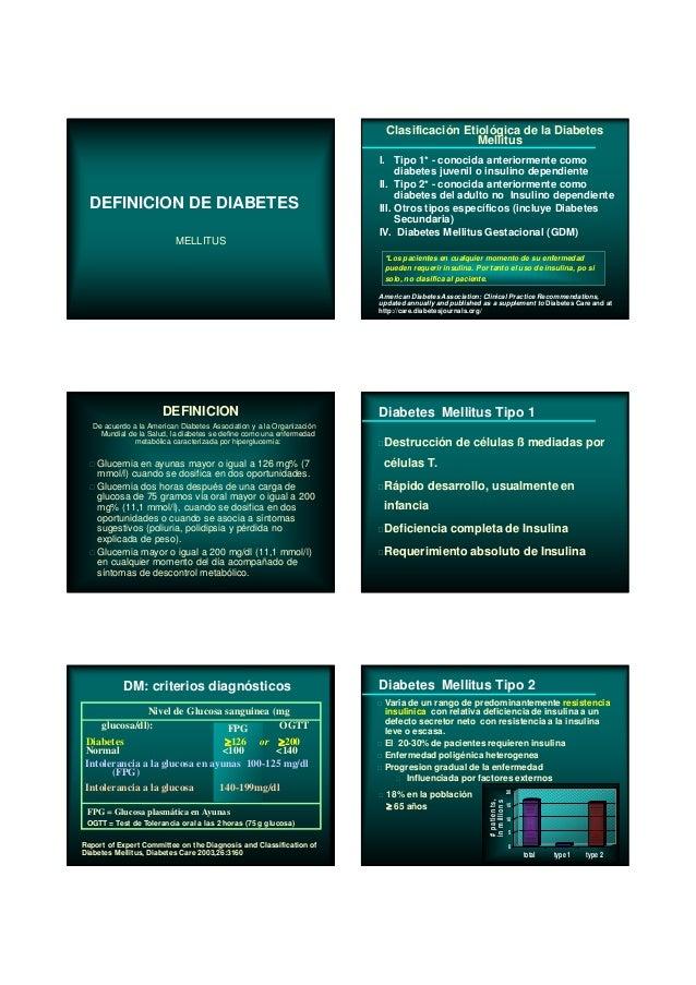DEFINICION DE DIABETES MELLITUS De acuerdo a la American Diabetes Association y a la Organización Mundial de la Salud, la ...