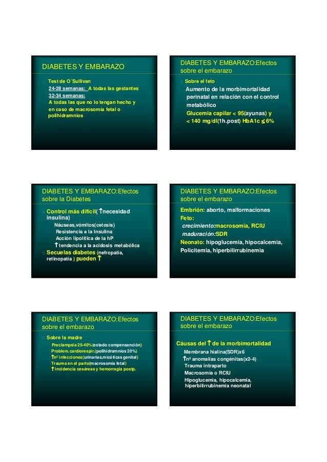 DIABETES Y EMBARAZO Test de O´Sullivan 24-28 semanas: A todas las gestantes 32-34 semanas: A todas las que no lo tengan he...