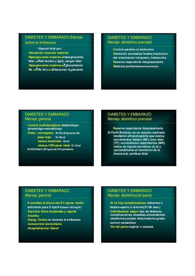 DIABETES Y EMBARAZO:Efectos sobre el embarazo Hipoxia fetal por: Afectación vascular materna Hiperglucemia materna→hipergl...