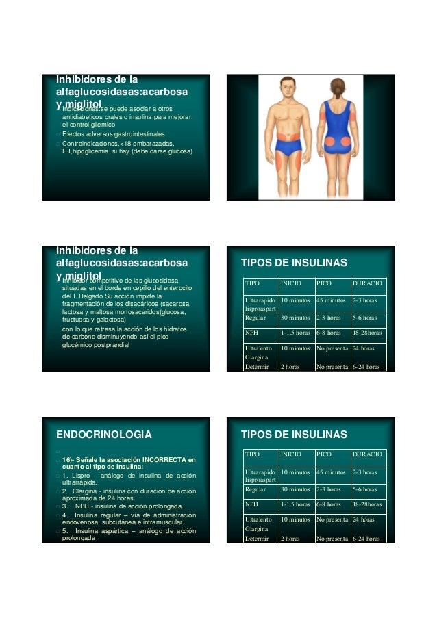 Inhibidores de la alfaglucosidasas:acarbosa y miglitolIndicaciones:se puede asociar a otros antidiabeticos orales o insuli...