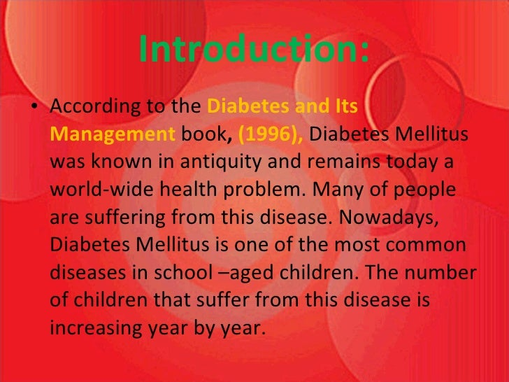 an introduction to the issue of diabetes This report provides estimates of the global prevalence of diabetes provides an impetus for wider introduction of a table elsewhere in this issue shows.