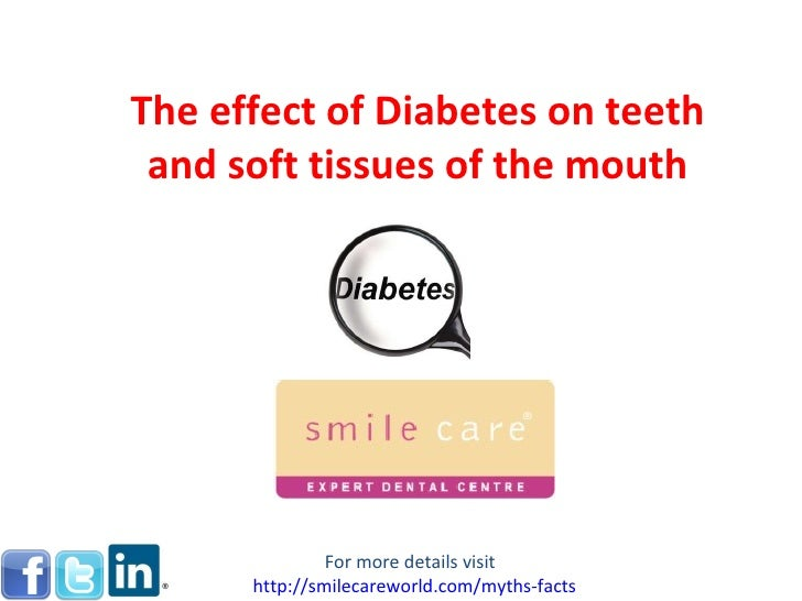 The effect of Diabetes on teeth and soft tissues of the mouth For more details visit  http:// smilecareworld.com /myths-fa...