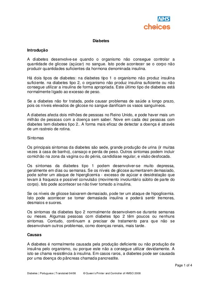 Page 1 of 4 Diabetes | Portuguese | Translated 04/08 © Queen's Printer and Controller of HMSO 2008 Diabetes Introdução A d...